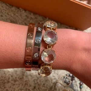 J Crew Gold Bracelet with Clear Stones